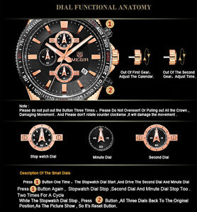 ROSE GOLD GORGEOUS MENS CHRONOGRAPH 30ATM  NEW