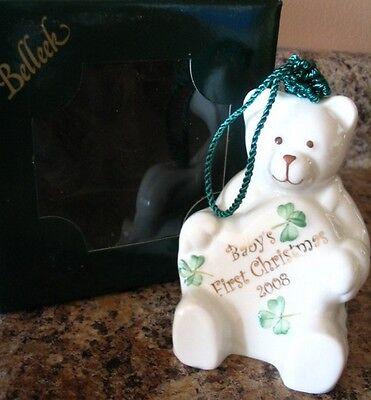 Belleek Porcelain China Teddy Bear 2008 BABY'S FIRST CHRISTMAS Ornament NIB