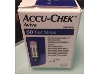Accu-Chek Aviva Test Strips For Blood Glucose Diabetic BNWT 50 In Box