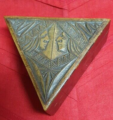 1900s Rare Triangle Shaped Carved Box with Native American Indians