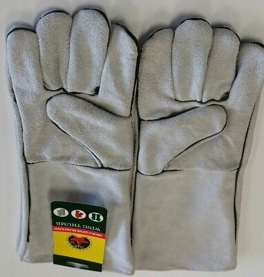2 Pairs 16 Gray Welding Gloves Split Leather Cowhide Protect Welder Hands