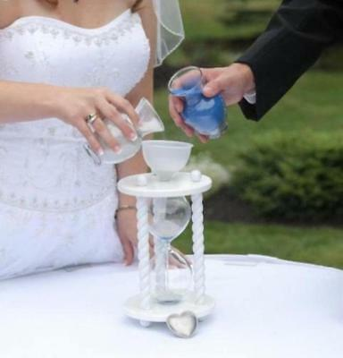 The White Wedding Unity Sand Ceremony Hourglass by Heirloom Hourglass