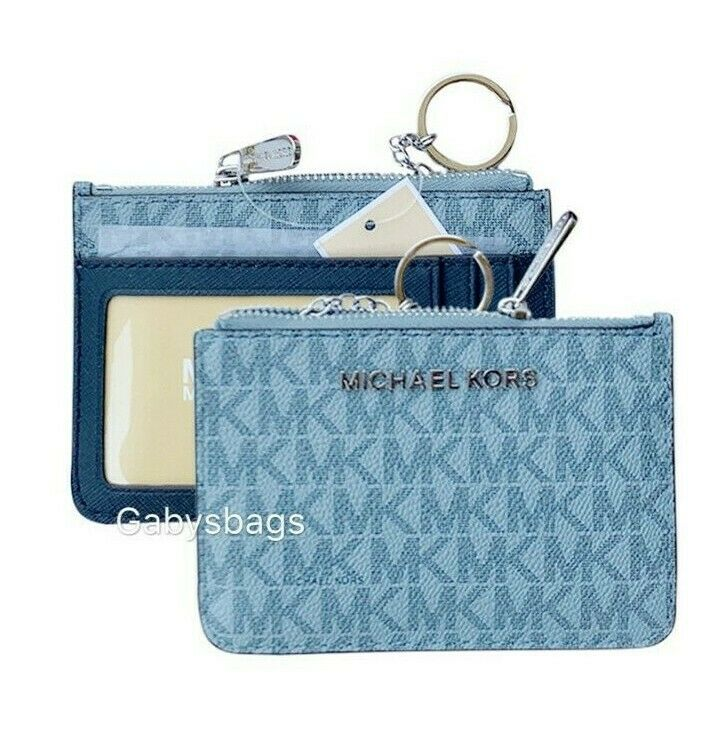 Michael Kors Jet Set Travel Small Top Zip Coin Pouch ID Holder Key Ring Wallet PaleBlue/Navy