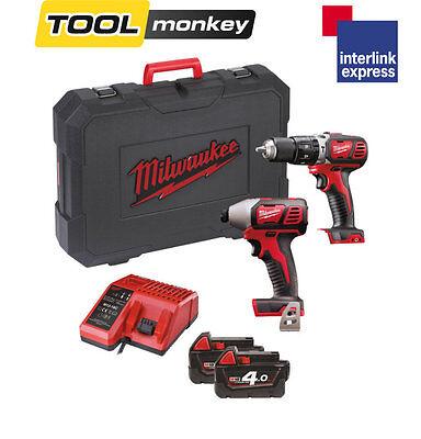 Milwaukee M18BPP2C-402C - 18v Twin Kit M18BPD & M18BID + 2x 4.0ah Batteries