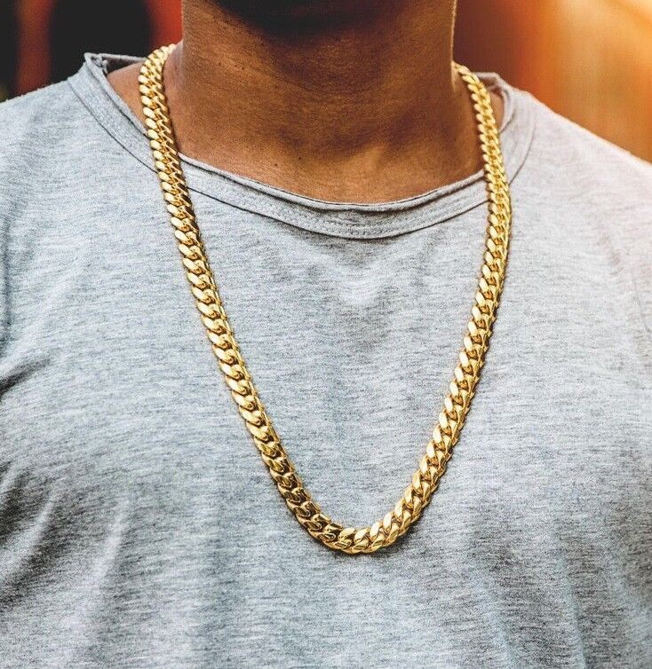 Mens Solid Gold Top Quality 316 Stainless Steel Miami Cuban Link Chain Necklace