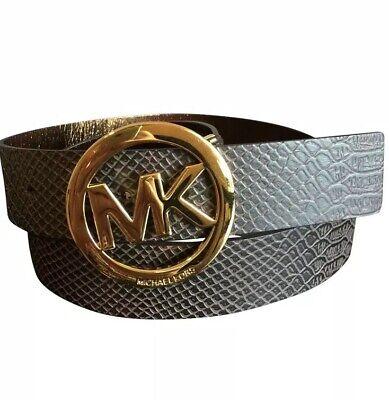 Michael Kors Brown Croc Reptile MK Logo Gold Tone Belt Sz Med. Or Large - Reptile Mk