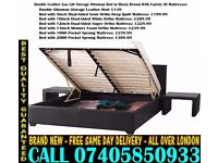 ***BRAND NEW KING SIZE SINGLE DOUBLE LEATHER STORAGE Bed With Mattress*** Musselshell