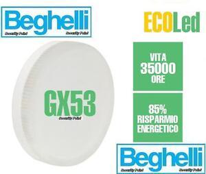 BEGHELLI-LAMPADINA-BASSO-CONSUMO-FLAT-GX53-6W-3000K-LED-LUCE-CALDA ...