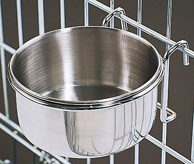 800114 Stainless Steel 10 oz Cage Coop Hook Cup Bird Dog Animal Food Water Bowl