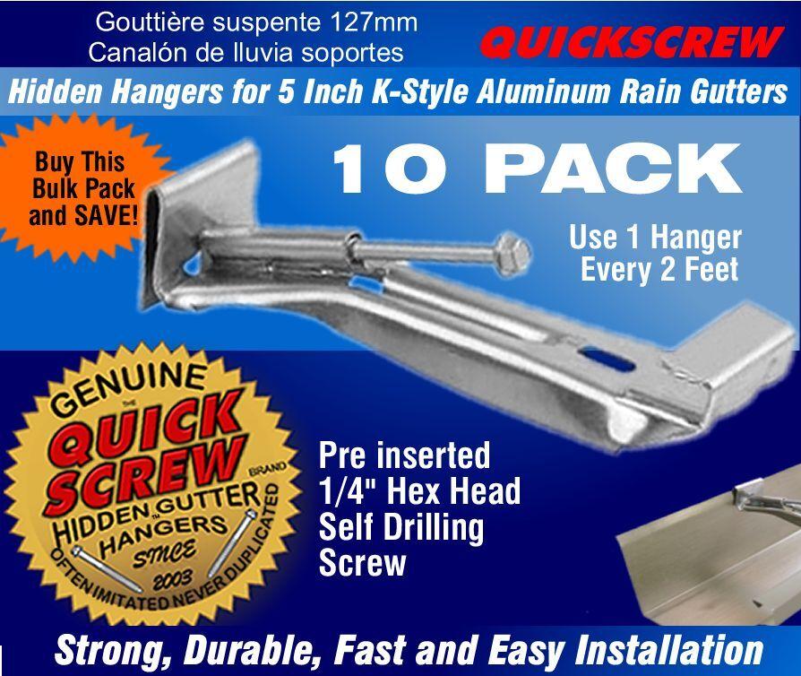 "Quick Screw 5"" 10 Pack Premium Hidden Rain Gutter Bracket Ho"