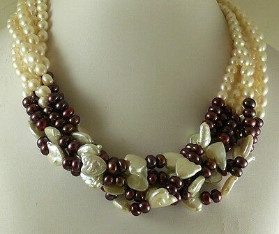 Freshwater White & Purple Pearl Necklace with 14k White Gold Clasp