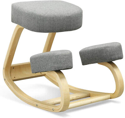 Home Office Ergonomic Wood Kneeling Chair Balancing Kneel Stool W Cushions Gray