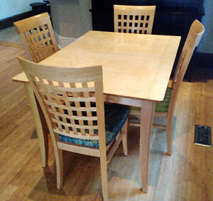 Custom-made dining set with silk-upholstered chairs