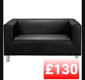 Faux leather 2 seater sofa. Black