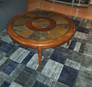 Antique wooden round coffee table