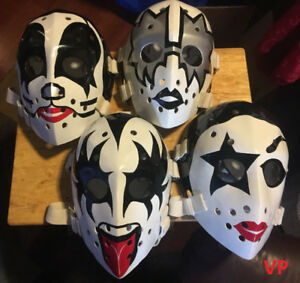 KISS Set of 4 Fibrosport Full Size Hockey Masks by Don Scott