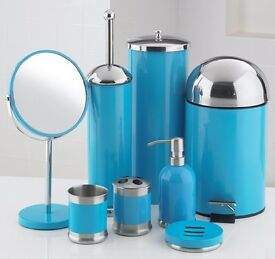 8 piece bathroom set in blue