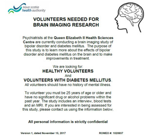 Nueroimaging study looking for people with diabetes (I or II)