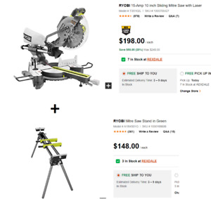"Ryobi 10"" Sliding Mitre Saw + Stand – Brand New, never used"