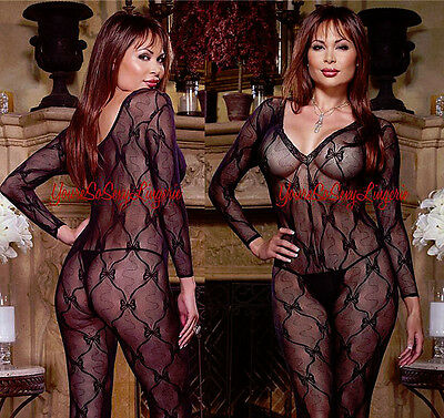 Plus Size LONG SLEEVE STRETCH LACE Bodystocking CROTCHLESS fits to 275 lbs QUEEN