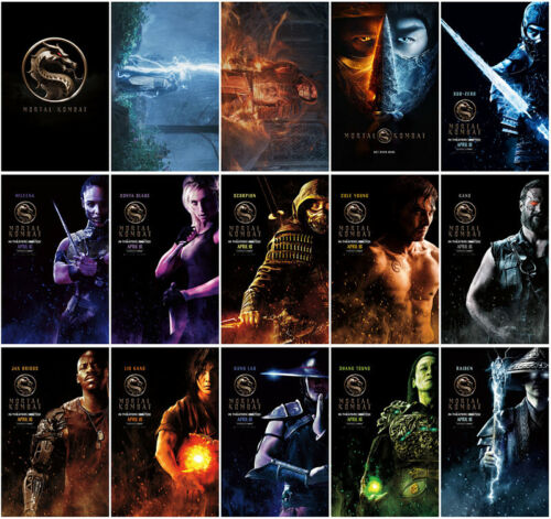 15pcs Mortal Kombat Movie 2021 Mirror Surface Card Sticker Promo Card Stickers A
