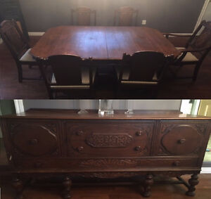 6 chair dining set with hutch