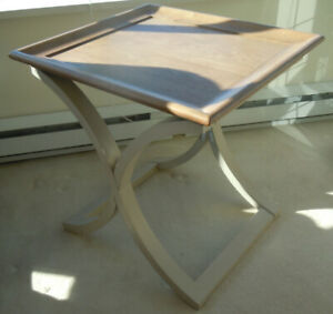 NEW pair Square Transitional End Table in Natural Hickory