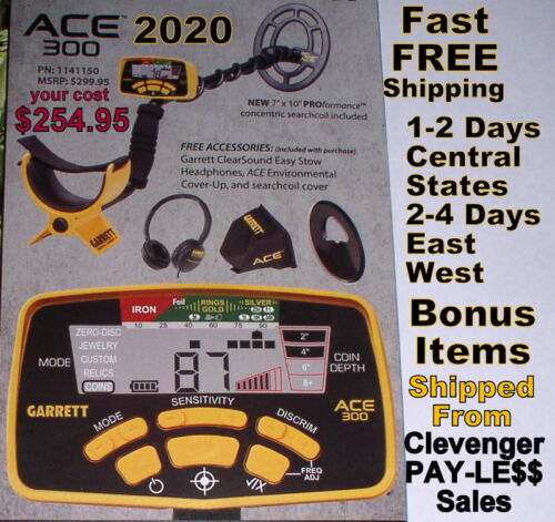 Garrett New 2020 Ace 300 Metal Detector with Special Bonus Items   Free Shipping
