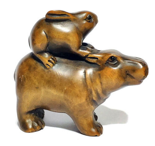 """Y6631 : 2"""" Hand Carved Boxwood Netsuke - Rabbit and Hippo"""