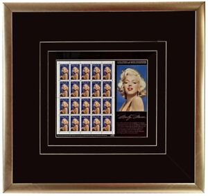 Framed Marilyn Monroe with sheet of 20 stamps