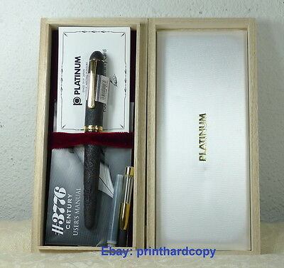 Platinum 3776 Briar Shell Sandblasted With Gold Plated Trim Fountain Pen 14k !