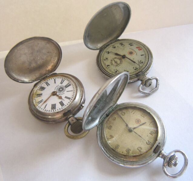 Set of 3 ROSKOPF Military Issued Pocket Watches, Manual Winding, Swiss Made, Silver, Limited Edition