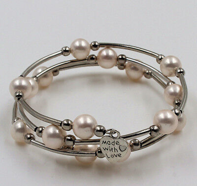 Chinese Pink Pearl (Handmade Tibet Silver Pink Pearl Shell Bangle Bracelet Chinese Export)