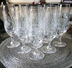 8 Pinwheel Crystal Flute Glasses - 6oz.