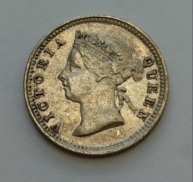 1891 Straits Settlements 5 Cents .800 Silver Coin