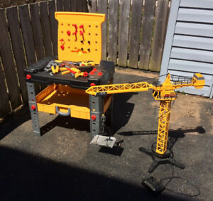 Kids work bench + Mega Crane w/remote control $25