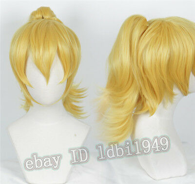 Bowsette Wig Princess Bowser Peach Wig Halloween Blonde Cosplay Wig WithPonytail