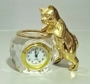 Cat and Crystal Fish Bowl Quartz Clock