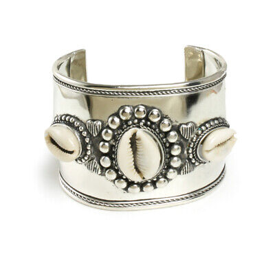 Wide Band African Silver Cowrie Shell Bracelet | Symbolizes Fertility,Prosperity