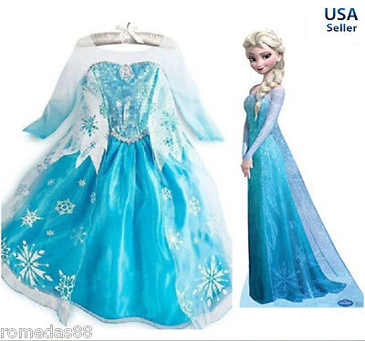 Frozen Princess ELSA Dress Cosplay Party Dress Up + Free Crown Wand Braid Set