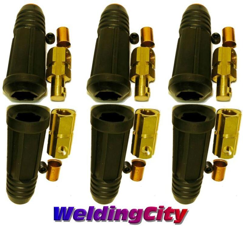 3-pk Welding Cable Twist-lock Connector Set Dinse 1/0-3/0 50-70mm | US Seller
