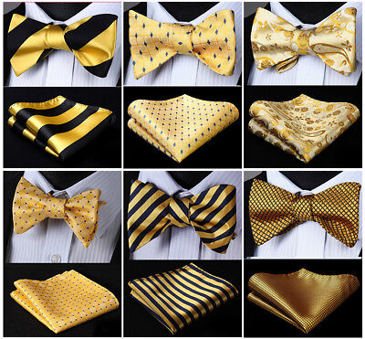 Yellow Bow Tie (17 Style Gold Yellow Men's Self Bow Tie Woven Silk Plaid Solid Pocket Square)