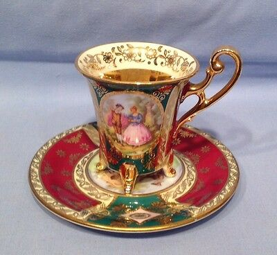 Antique China Cabinet Cup and Saucer Bavaria Heavily Decorated