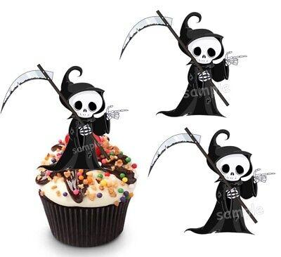Halloween Der Tod Tot Eßbar Party Deko Tortenaufleger Muffinaufleger Kostüm neu](Toddler Halloween Snacks)