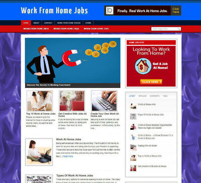 Work From Home Jobs Affiliate Store   Website With Free Domain   Video Pages