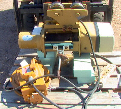 Eaton Yale 1 Ton Cable Winch Hoist With Trolley And Cord Reel. 208 Vac Powered
