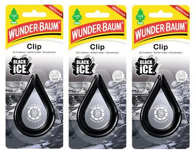 Wunderbaum® 3 Stück Clip Black Ice Lufterfrischer Autoduft Duft Auto 3x12g
