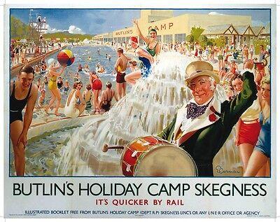 Butlins Skegness (old rail ad.) small steel sign 200mm x 150mm (og)