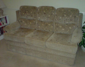 Need to go asap - Beige, material, 3 seater & 2 seater sofa settees - Reversible (pattern or plain).