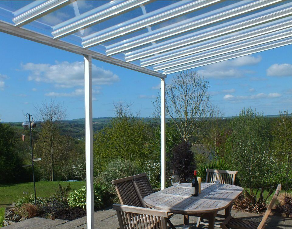 Clear as glass carport patio canopy cover lean to awning garden pergola seating - Glas pergola ...
